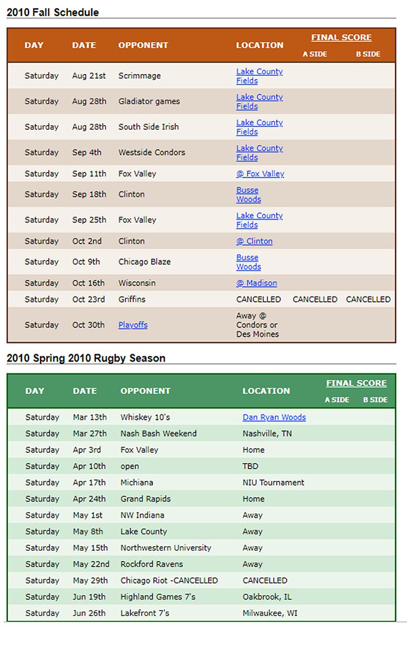 2010 Woodsmen Schedule