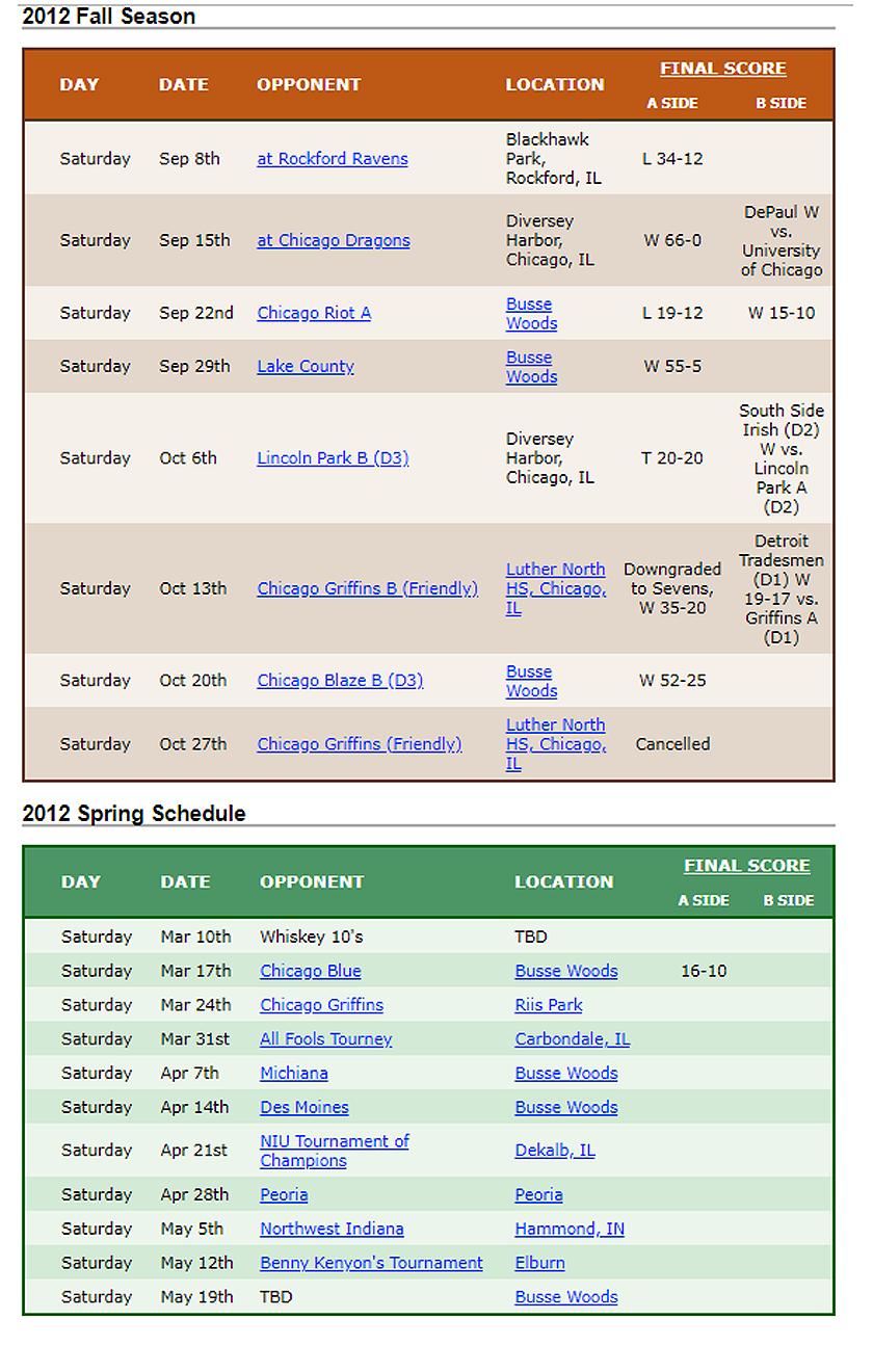 2012 Woodsmen Rugby Schedule