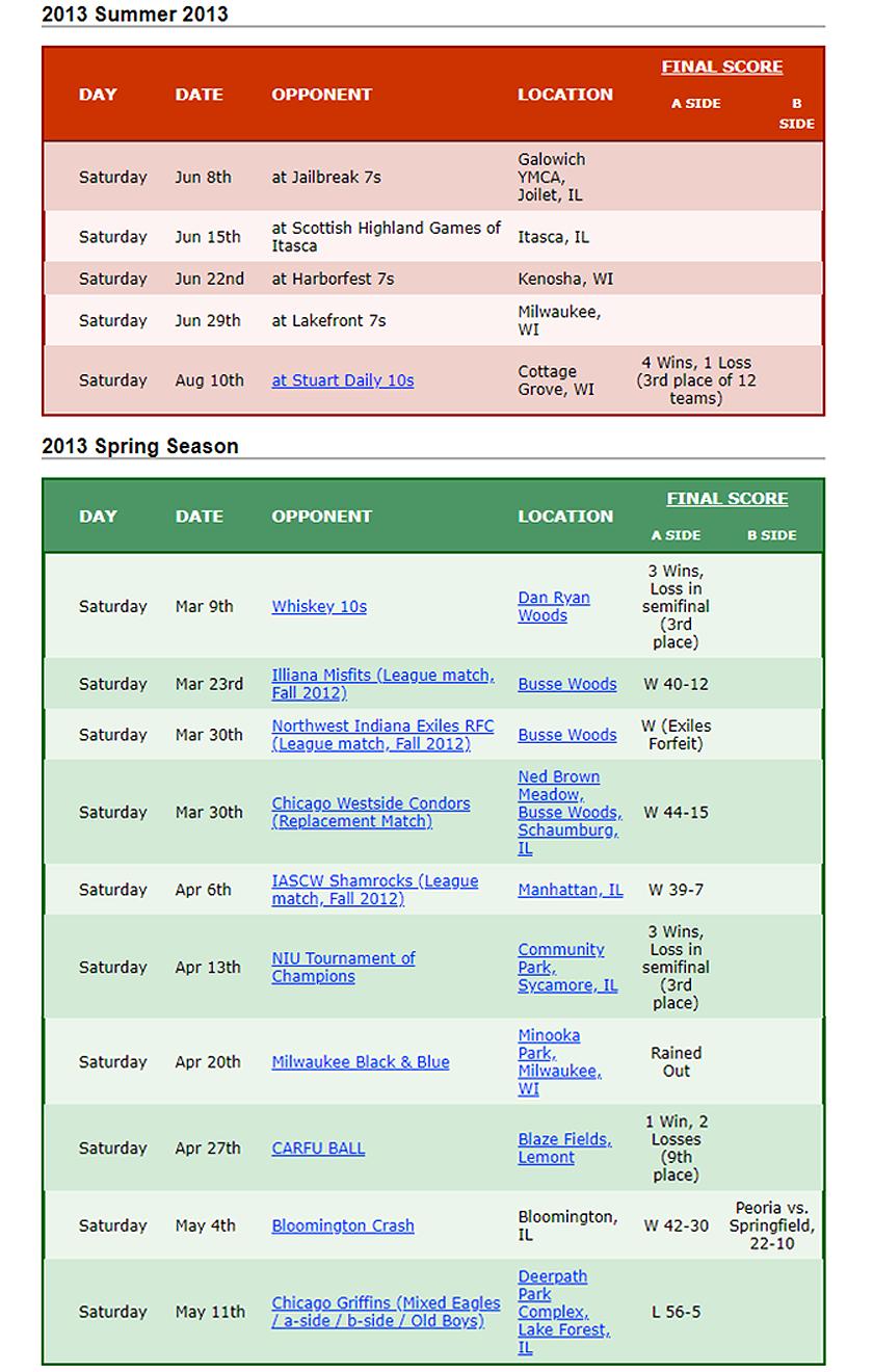 2013 Woodsmen Rugby Schedule